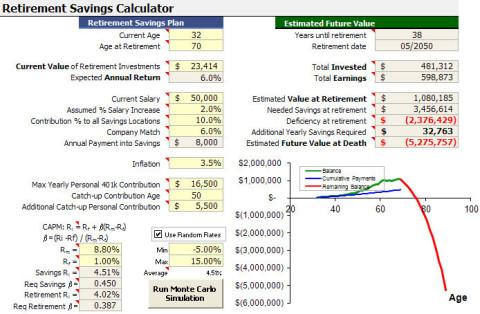 retirement age calculator excel